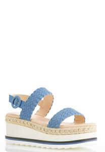 Wide Width Denim Flatform Wedge Sandals