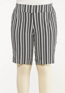 Plus Size Striped Bermuda Shorts