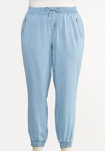 Plus Size Smocked Chambray Joggers