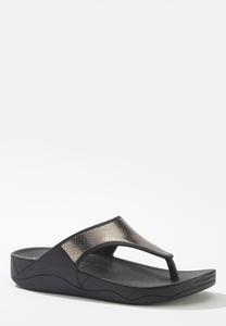 Faux Leather Comfort Thong Sandals