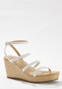 Stretch Band Raffia Wedge Sandals