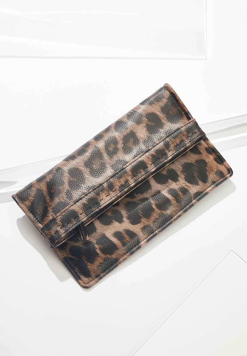 Leopard Fold Over Wristlet