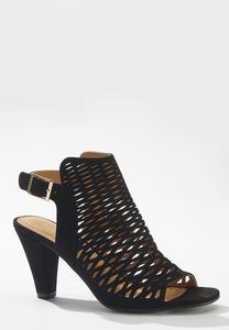 Wide Width Open Toe Laser Cut Heels