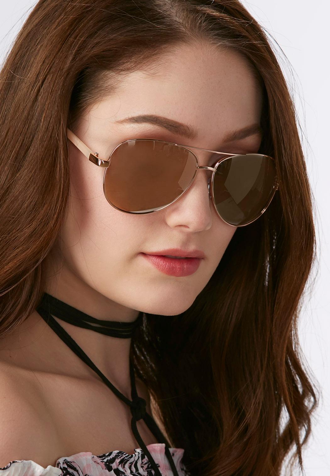 Rose Tinted Aviator Sunglasses (Item #33927120)