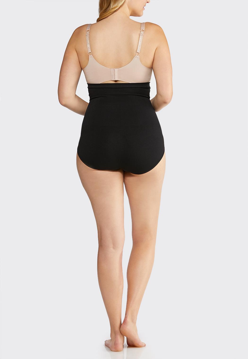 Plus Extended Black High Waist Seamless Panties (Item #35051515)