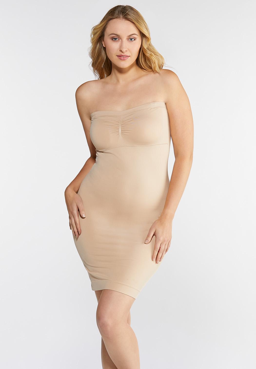 Plus Size Nude Seamless Midi Slip (Item #35618537)