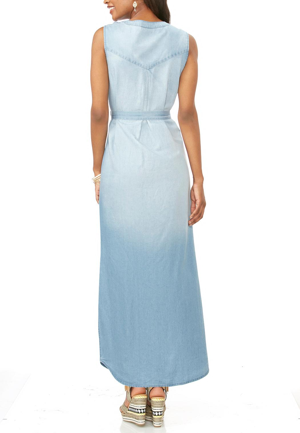 Belted chambray maxi dress maxi cato fashions for Belted chambray shirt dress