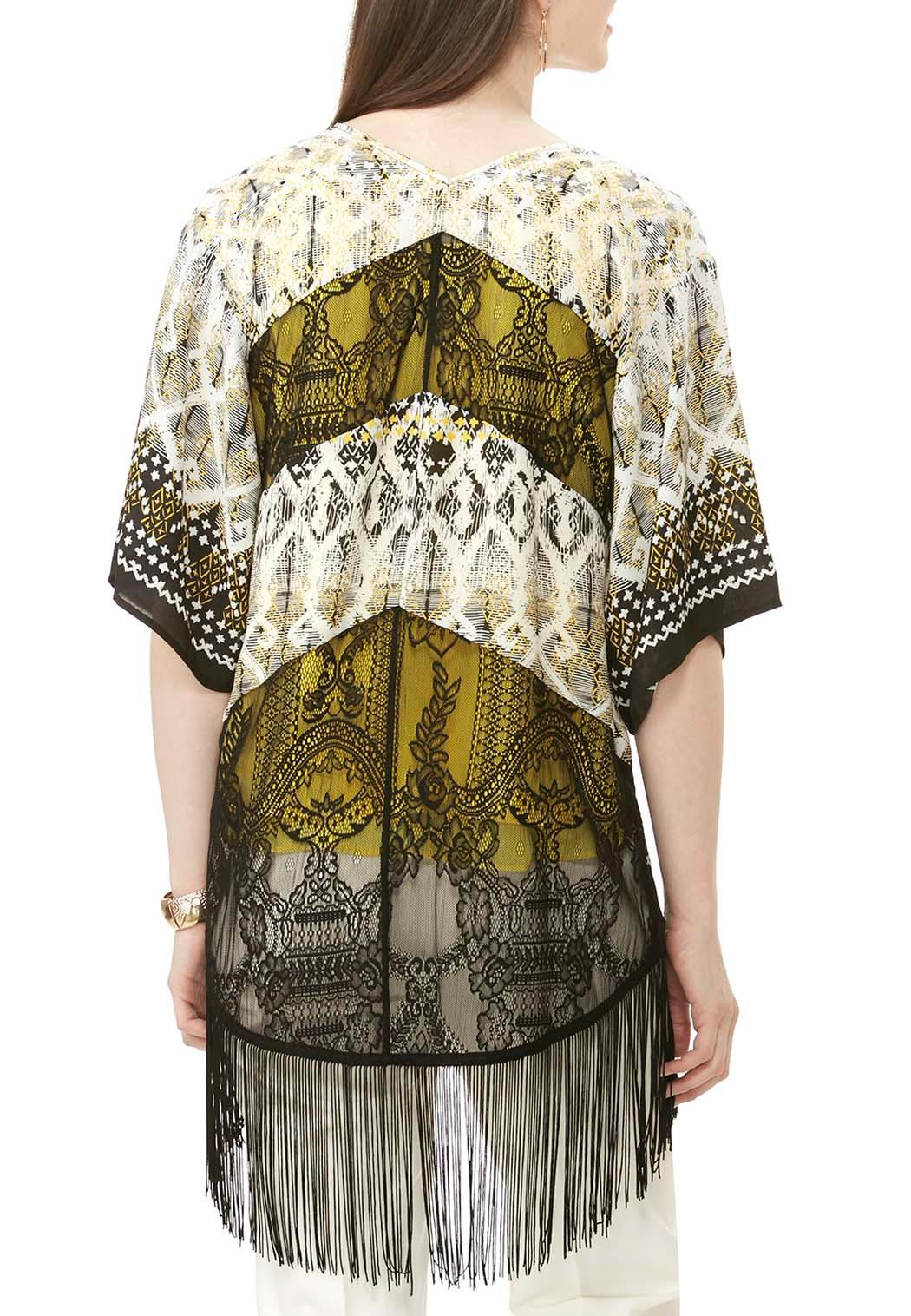 Lace Inset Abstract Kimono Cardigan Tops Cato Fashions