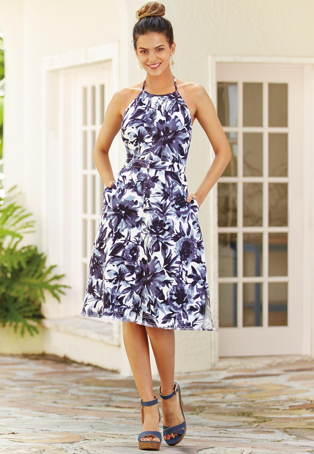 Floral Denim Halter Dress Dresses Cato Fashions