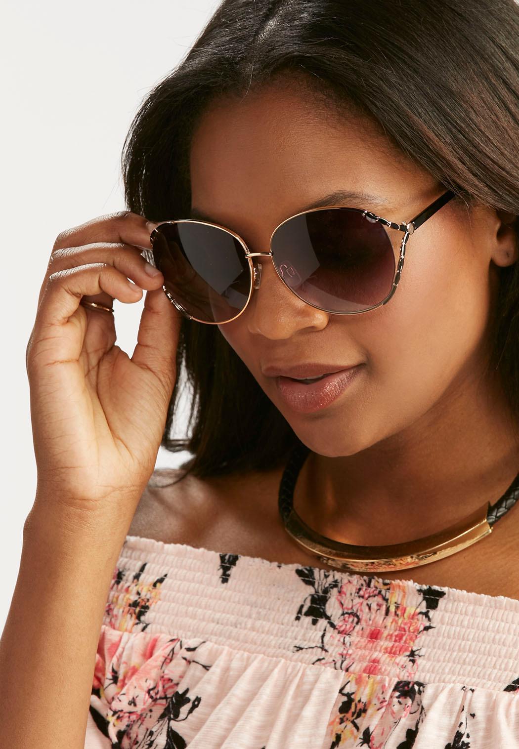 Sunglasses Cutout  cutout side round sunglasses sunglasses cato fashions