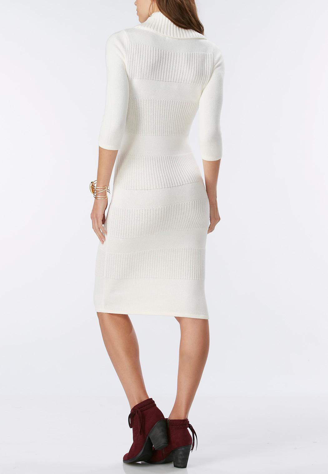 Mixed Knit Cowl Neck Midi Sweater Dress Plus Plus Sizes