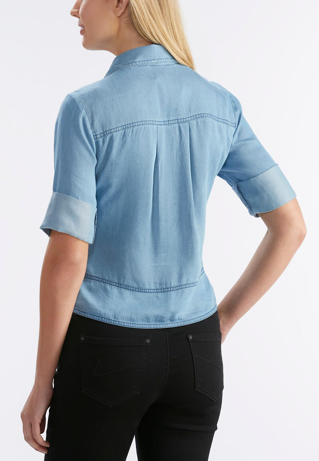 Tie front chambray shirt plus shirts cato fashions for Plus size chambray shirt
