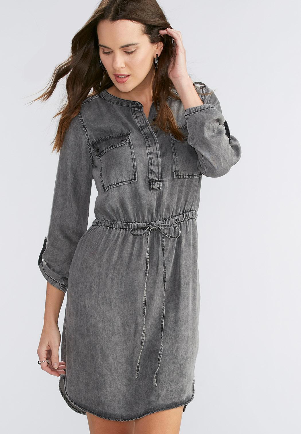Black wash chambray shirt dress plus plus sizes cato for Plus size chambray shirt