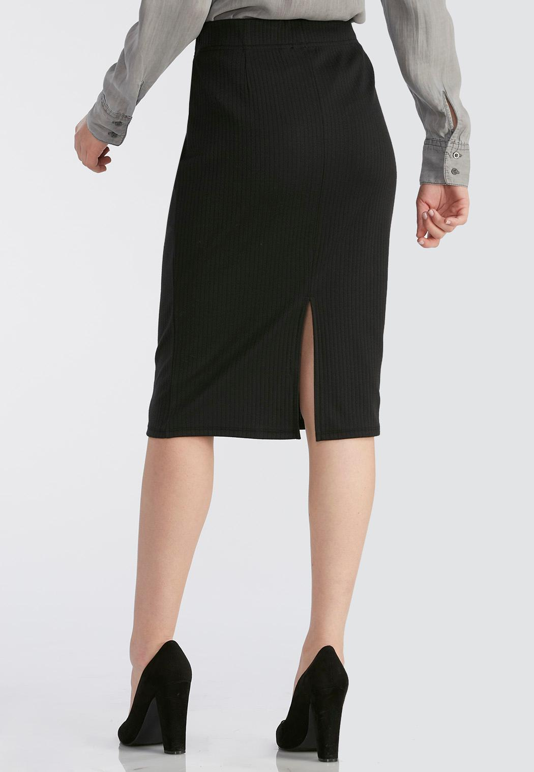 ribbed midi skirt below the knee cato fashions