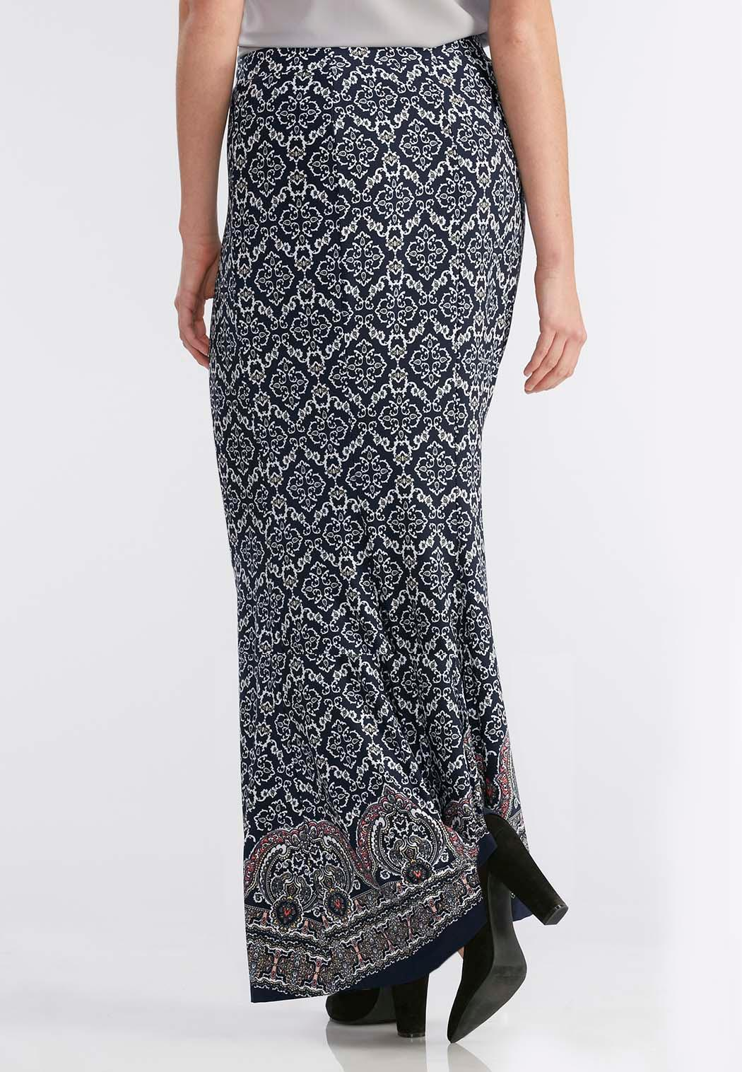 Bordered Rhapsody Mermaid Maxi Skirt-Plus Maxi | Cato Fashions