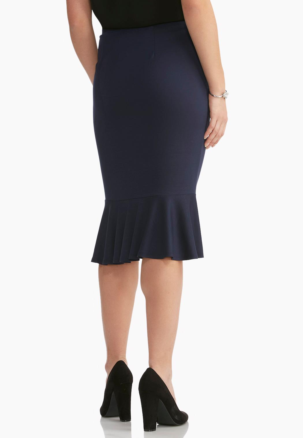 flounced midi skirt below the knee cato fashions