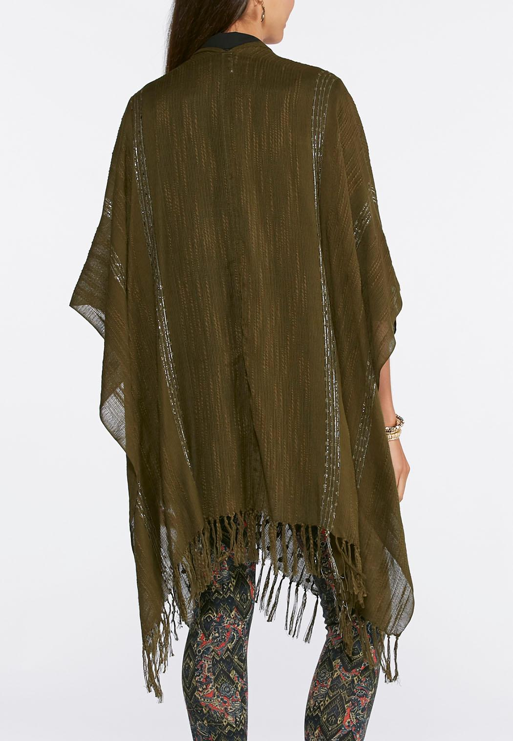 Embellished Slub Poncho Cold Weather Cato Fashions