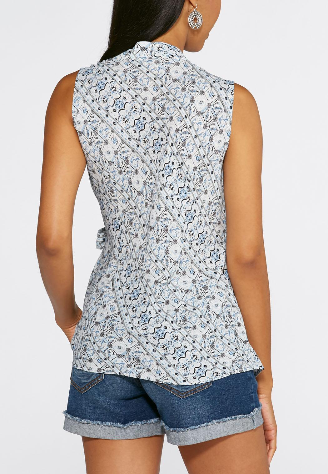 Tie Side Printed Wrap Top Shirts Amp Blouses Cato Fashions