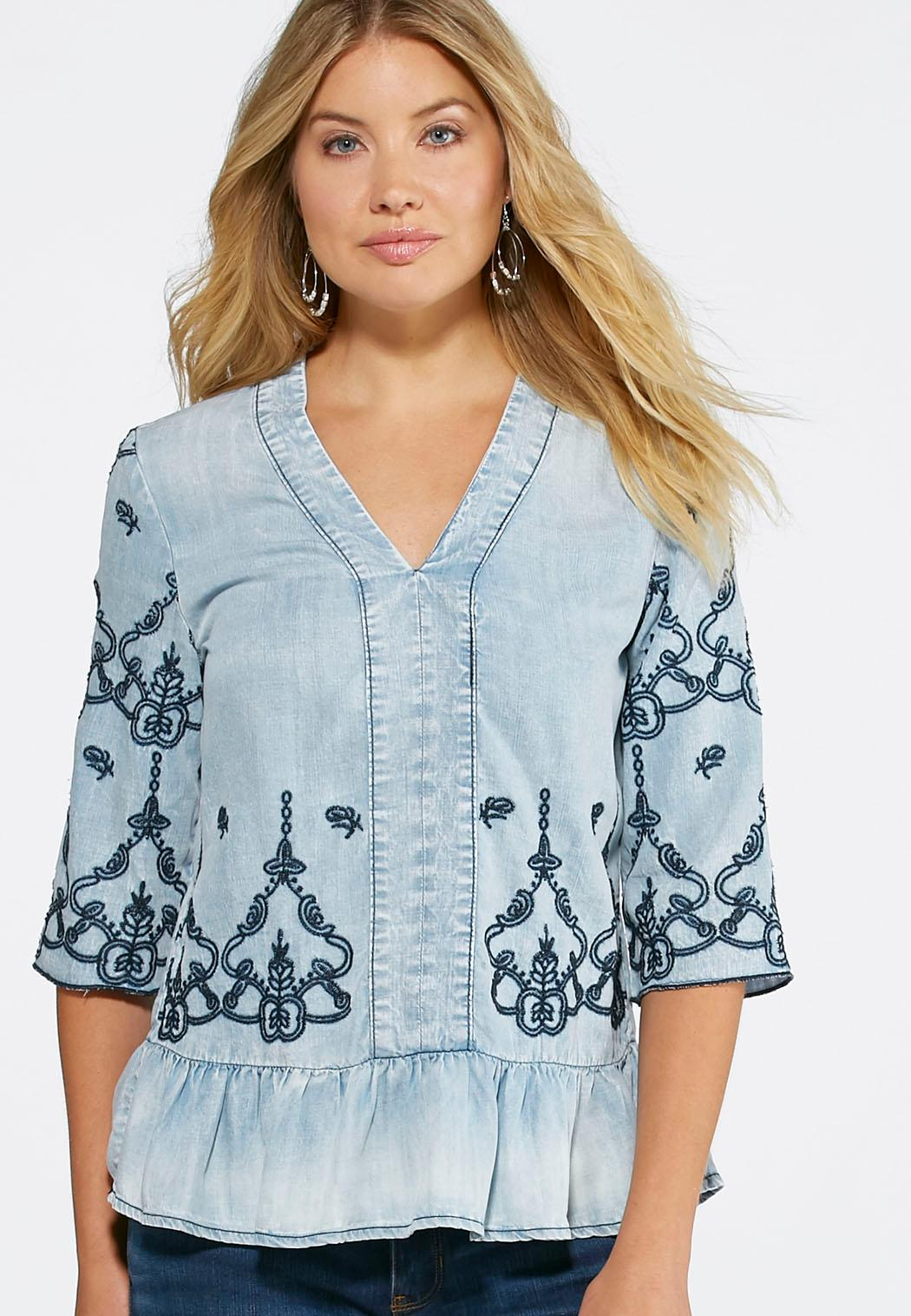 Embroidered chambray peplum top plus shirts cato fashions for Plus size chambray shirt