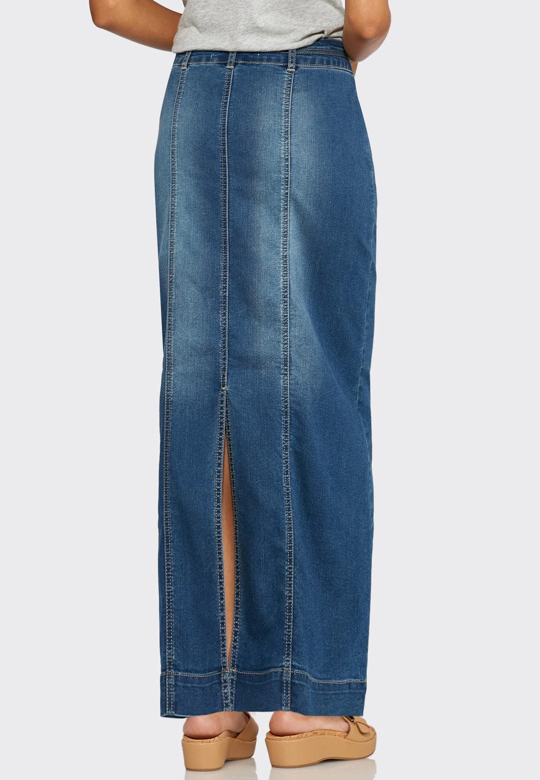 Seamed Denim Maxi Skirt-Plus Skirts Cato Fashions