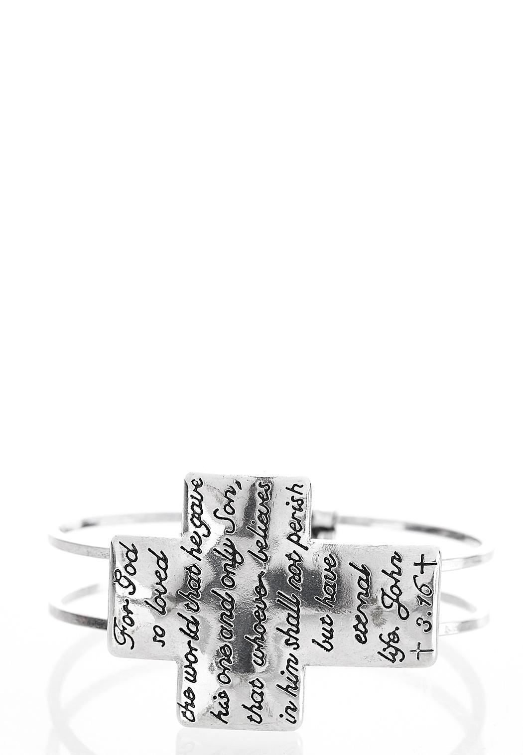 Inspirational Cross Cuff Bracelet (Item #40644445)