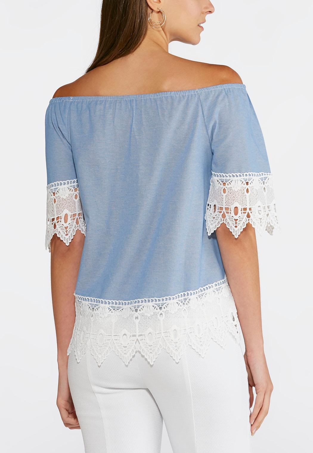 Off The Shoulder Chambray Top Plus Shirts Cato Fashions