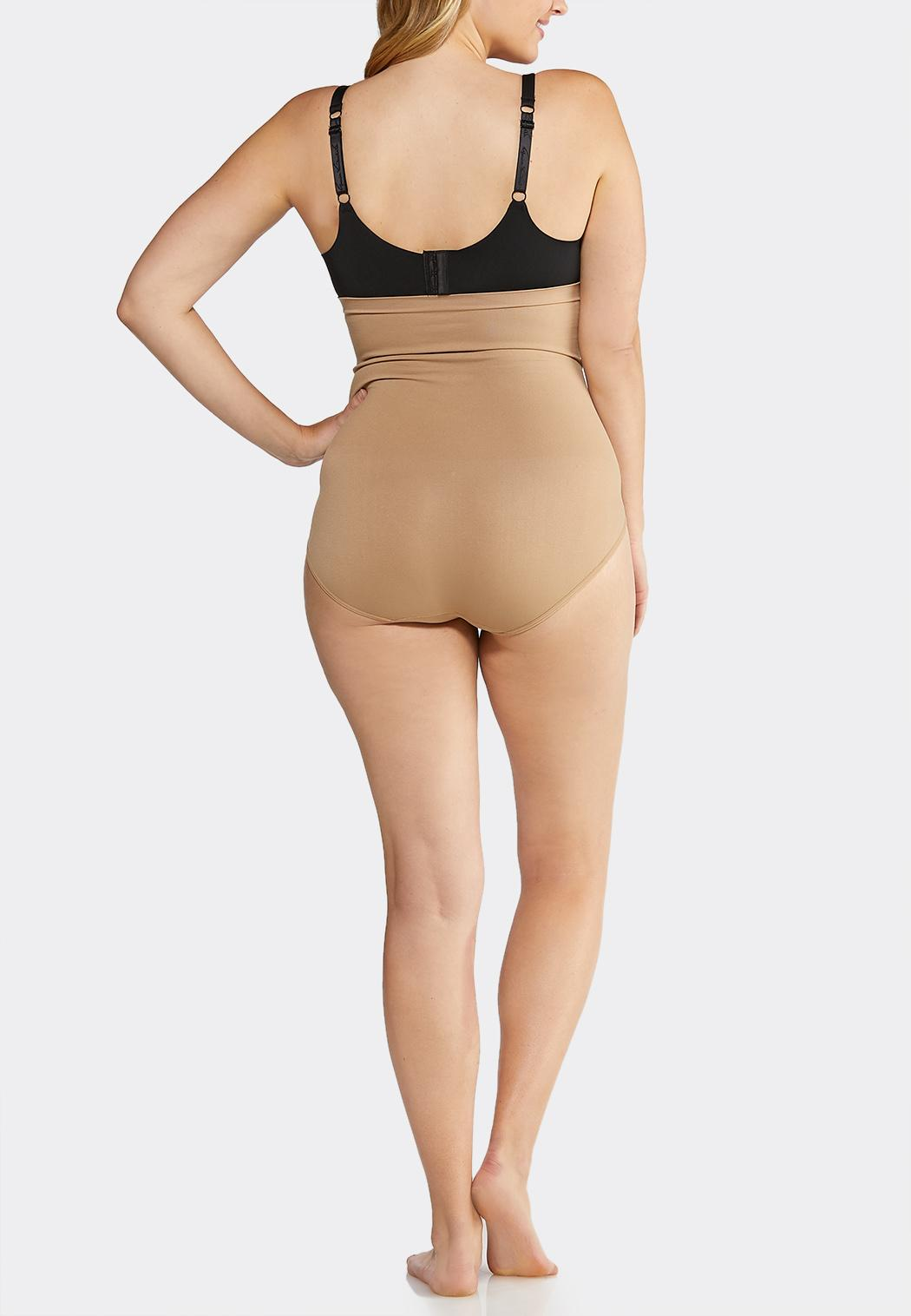 Plus Size Nude High Waist Seamless Panties (Item #41090127)