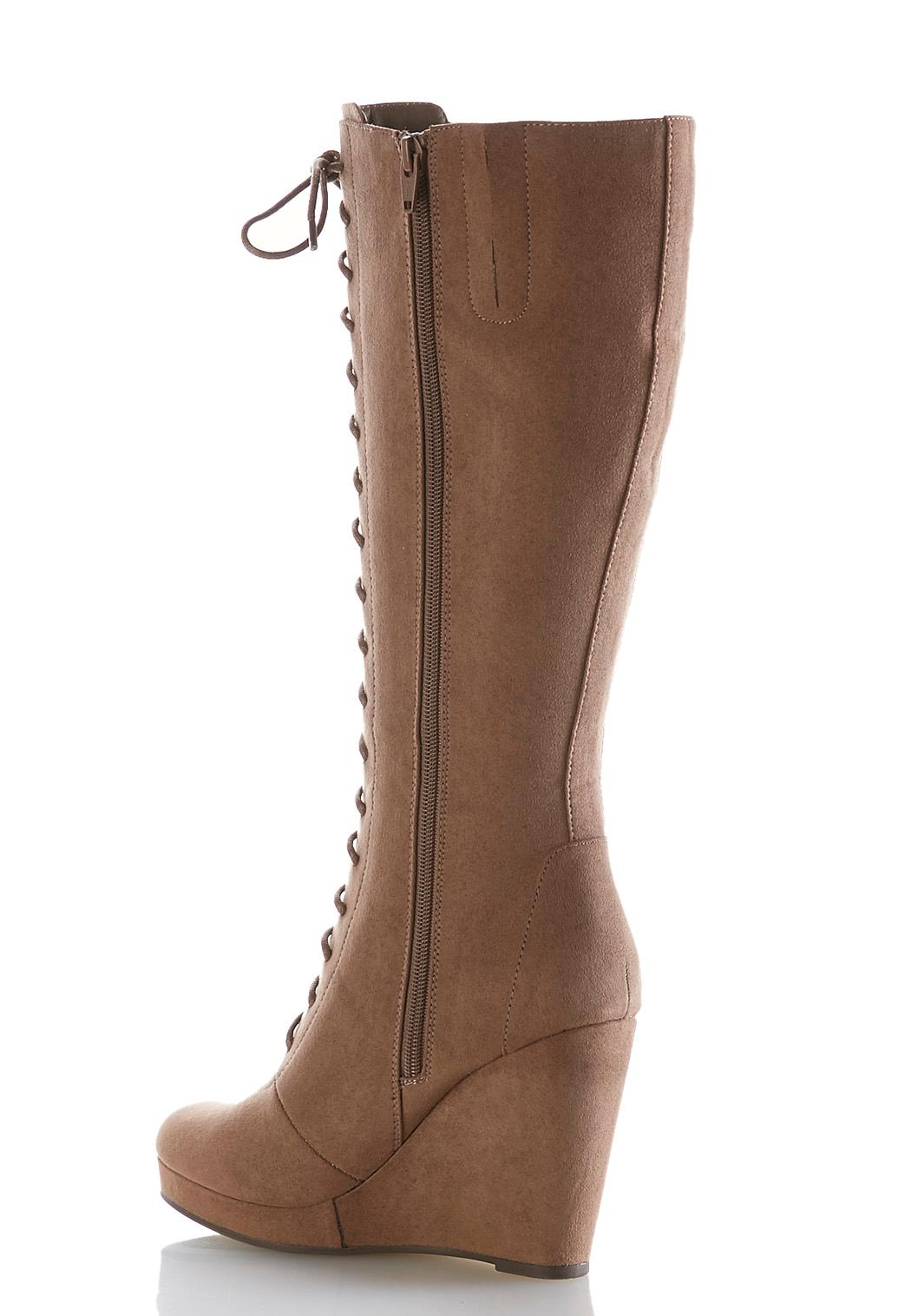 Tall Lace Up Wedge Boots Tall Cato Fashions