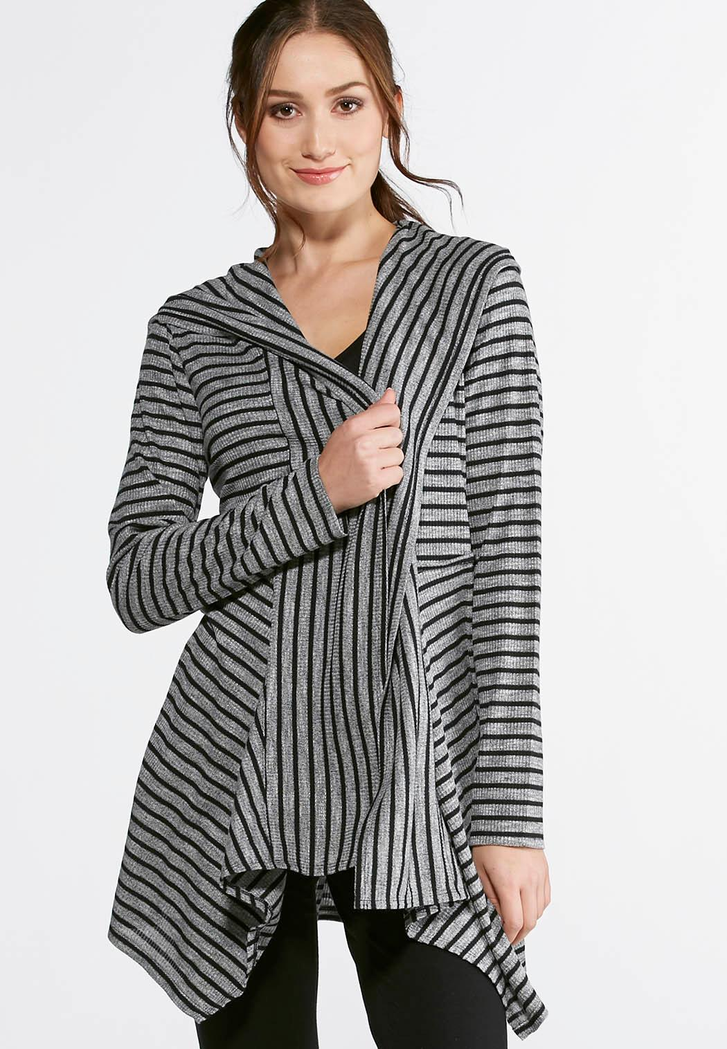 Striped Hooded Cardigan Athleisure Cato Fashions