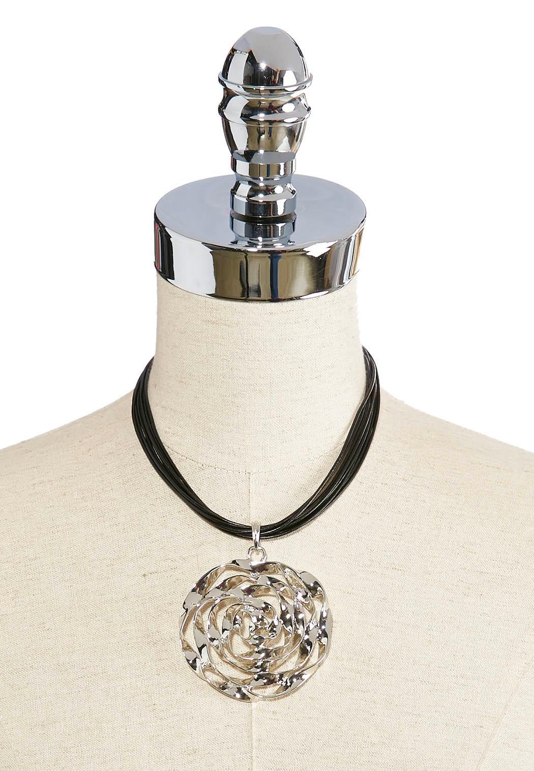 Corded Rose Pendant Choker (Item #41934704)