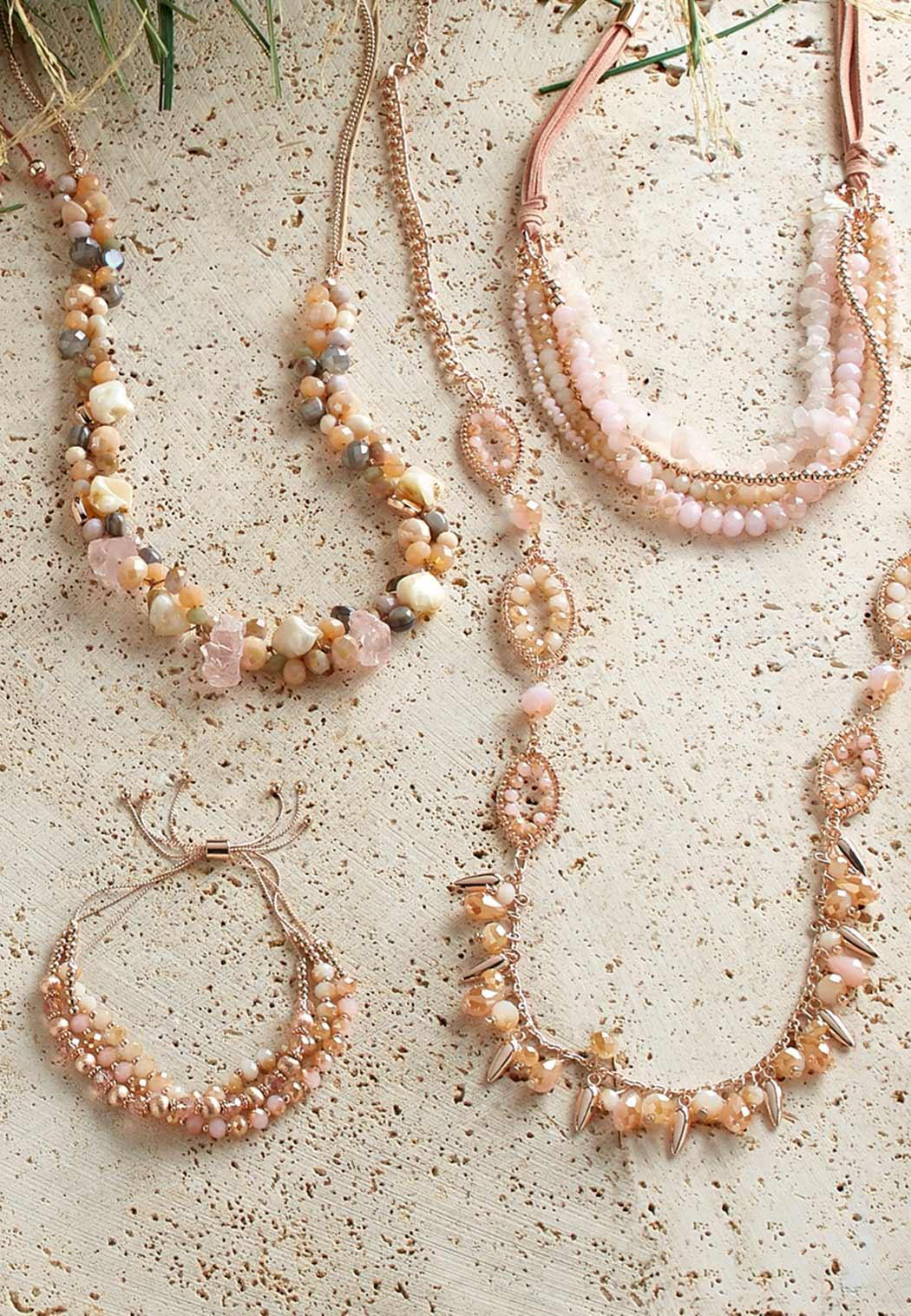 Shaky Rose Gold Bead Necklace Long Cato Fashions