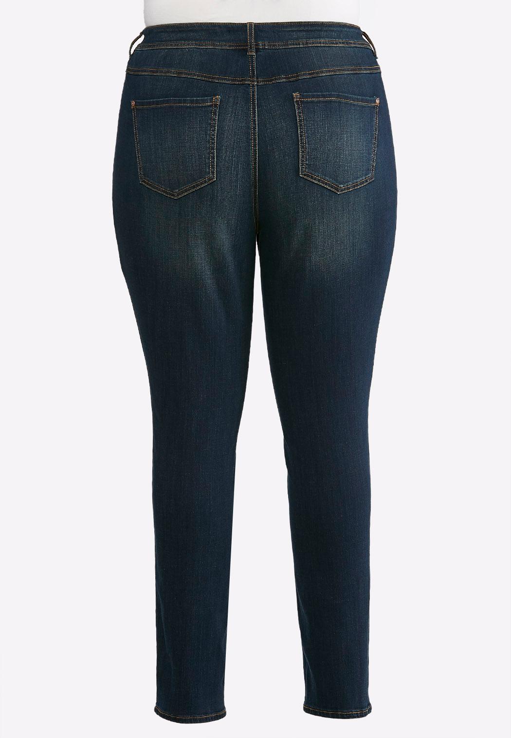 Plus Size Curvy Rinse Wash Skinny Jeans (Item #43536942)