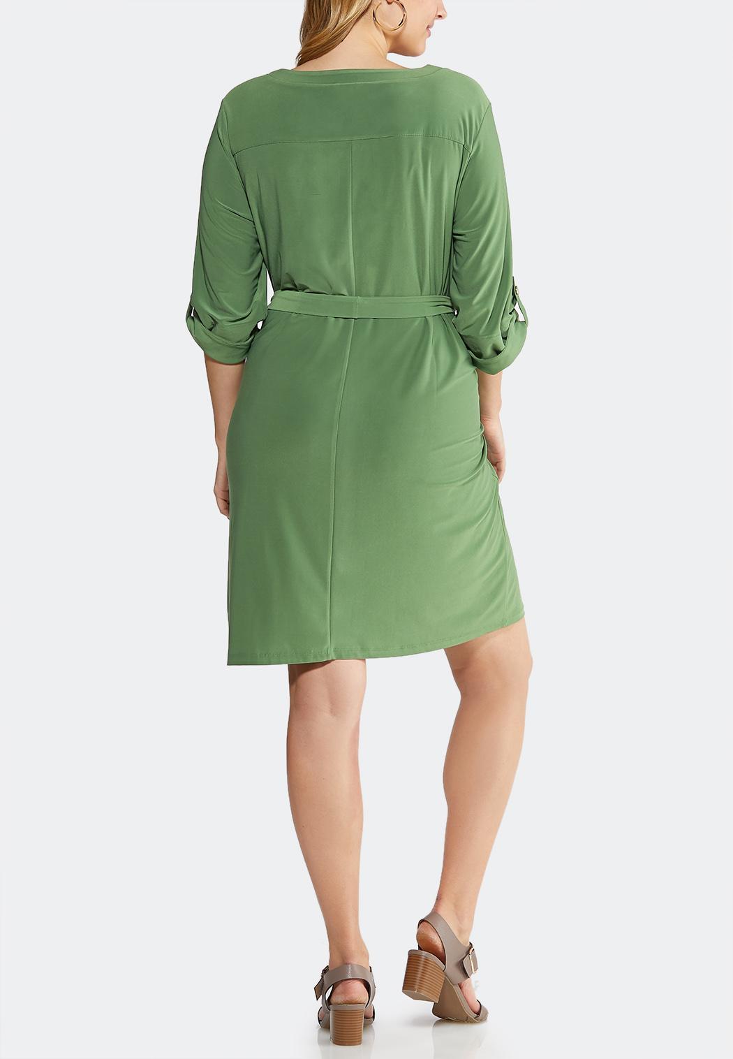 Plus Size Solid Tie Waist Shirt Dress (Item #43584913)