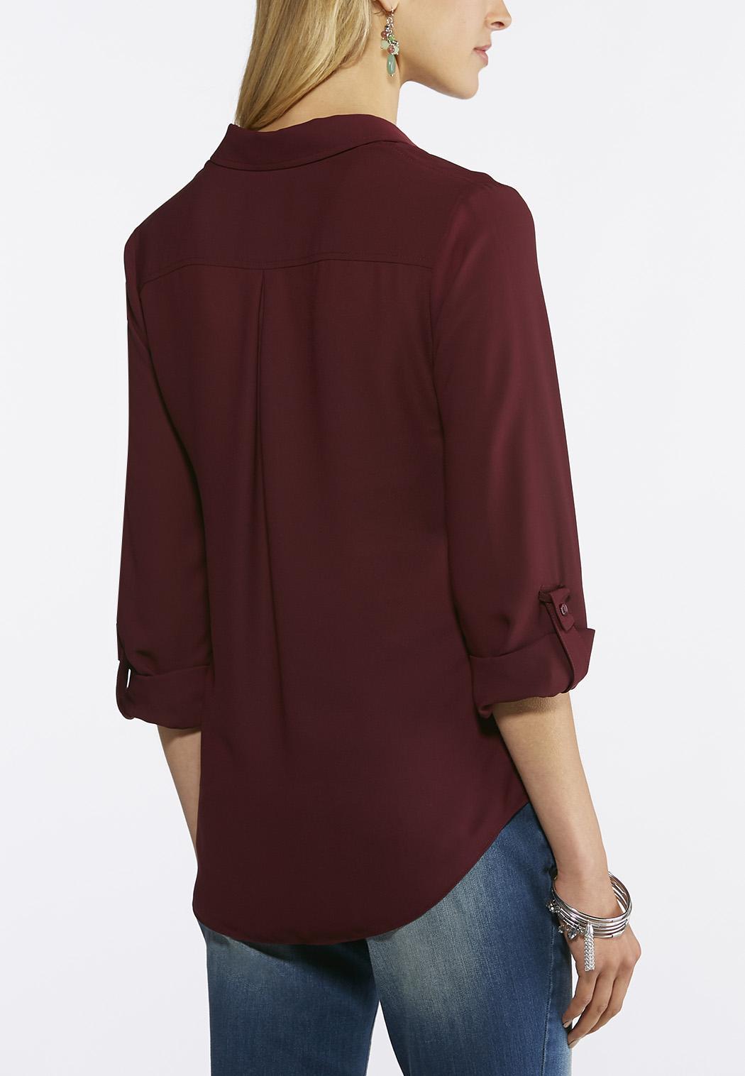 Plus Size Solid Button Down Boyfriend Shirt (Item #43591054)
