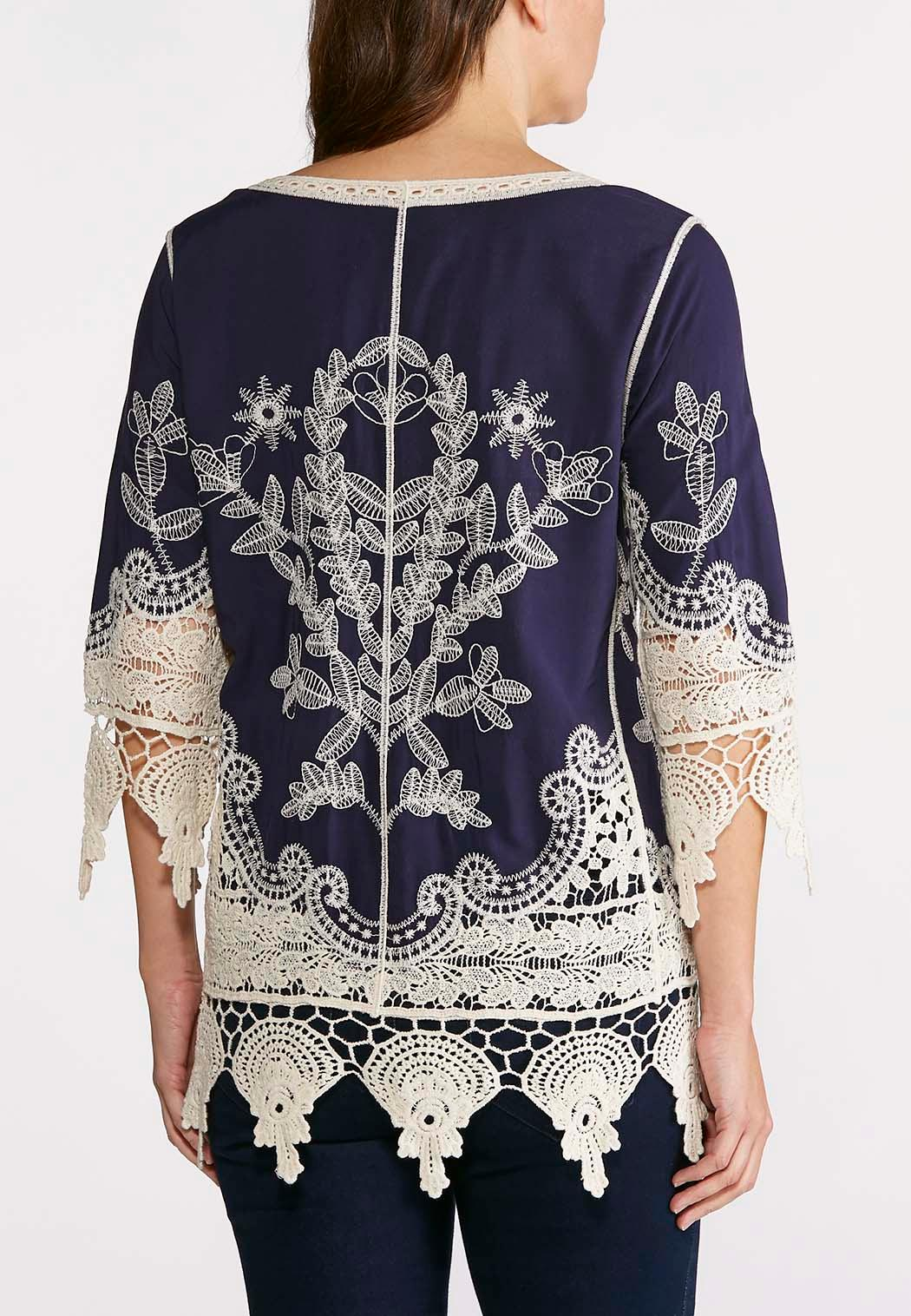 Plus Size Crochet Embroidered Tunic (Item #43601707)