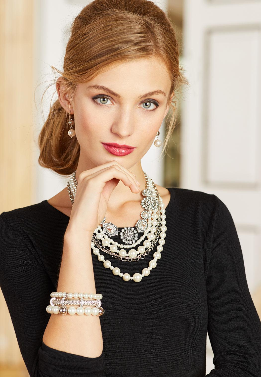 Multi Layer Rhinestone Pearl Necklace (Item #43624720)