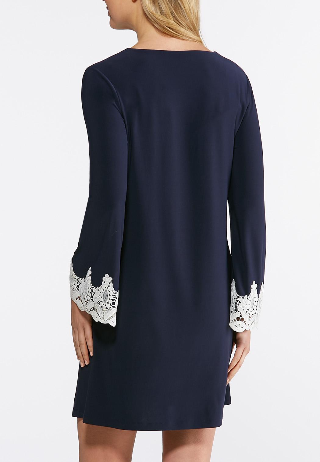 Plus Size Crochet Trim Swing Dress A-line & Swing Cato Fashions