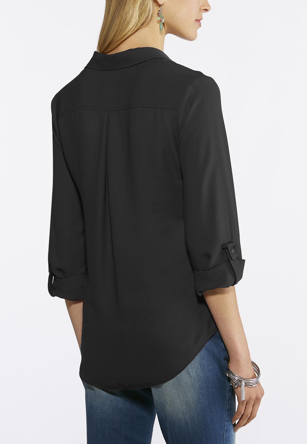 Button Down Solid Boyfriend Shirt (Item #43691498)