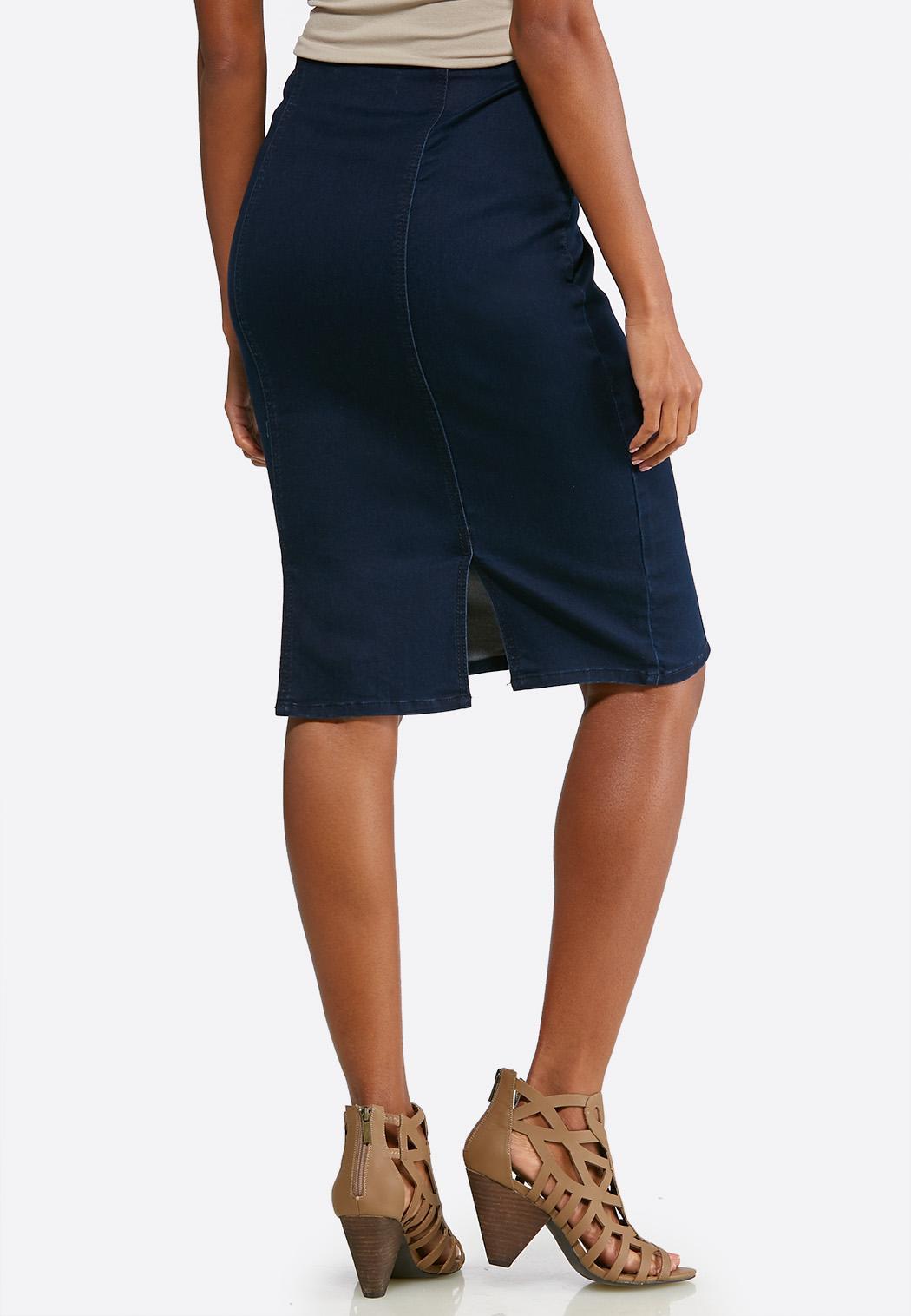Plus Size Pull-On Denim Pencil Skirt (Item #43710686)