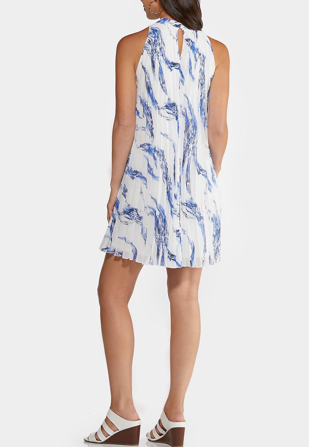 Plus Size Pleated Print Swing Dress (Item #43718383)