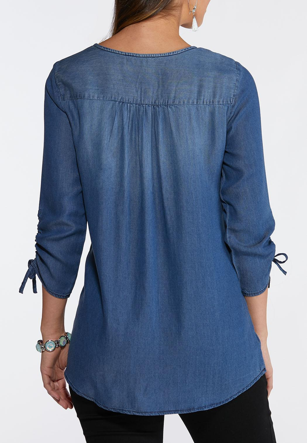 Chambray Ruched Sleeve Top (Item #43749057)