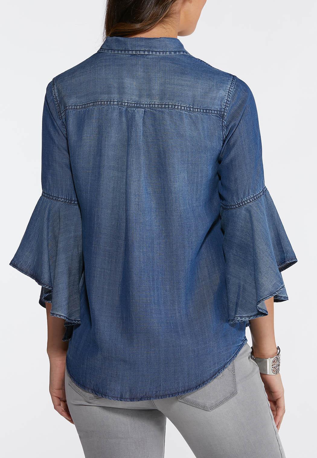439985cabcf Plus Size Chambray Ruffled Sleeve Shirt Shirts Cato Fashions