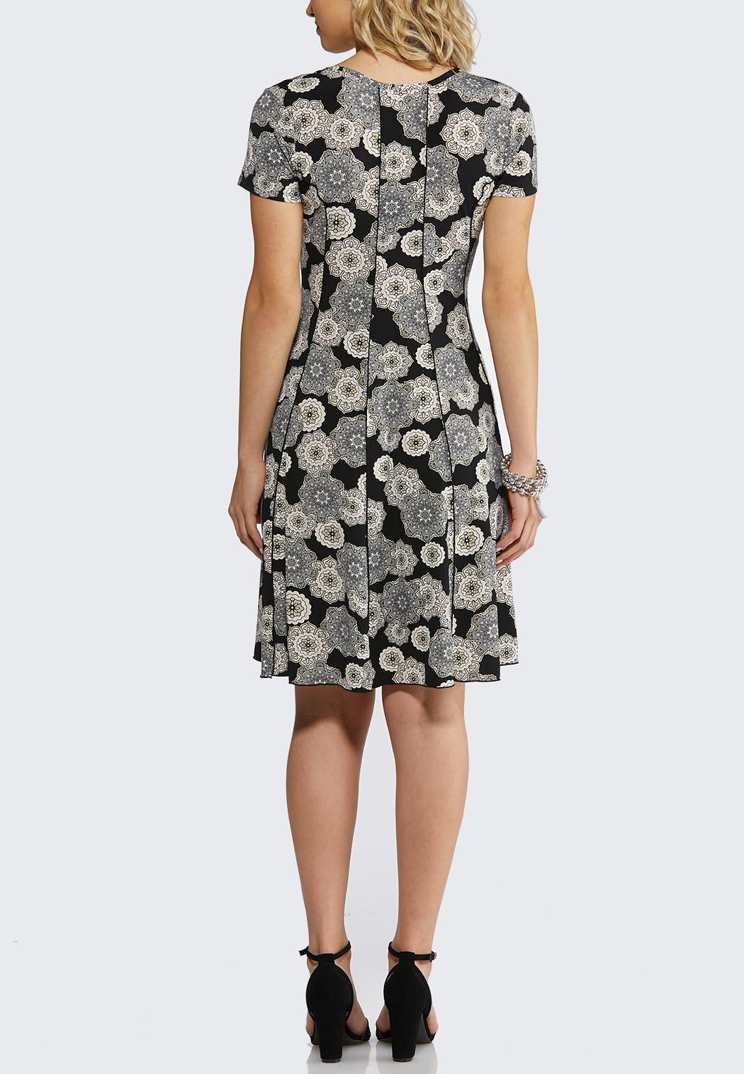 e488b25233 Plus Size Seamed Puff Medallion Dress A-line   Swing Cato Fashions