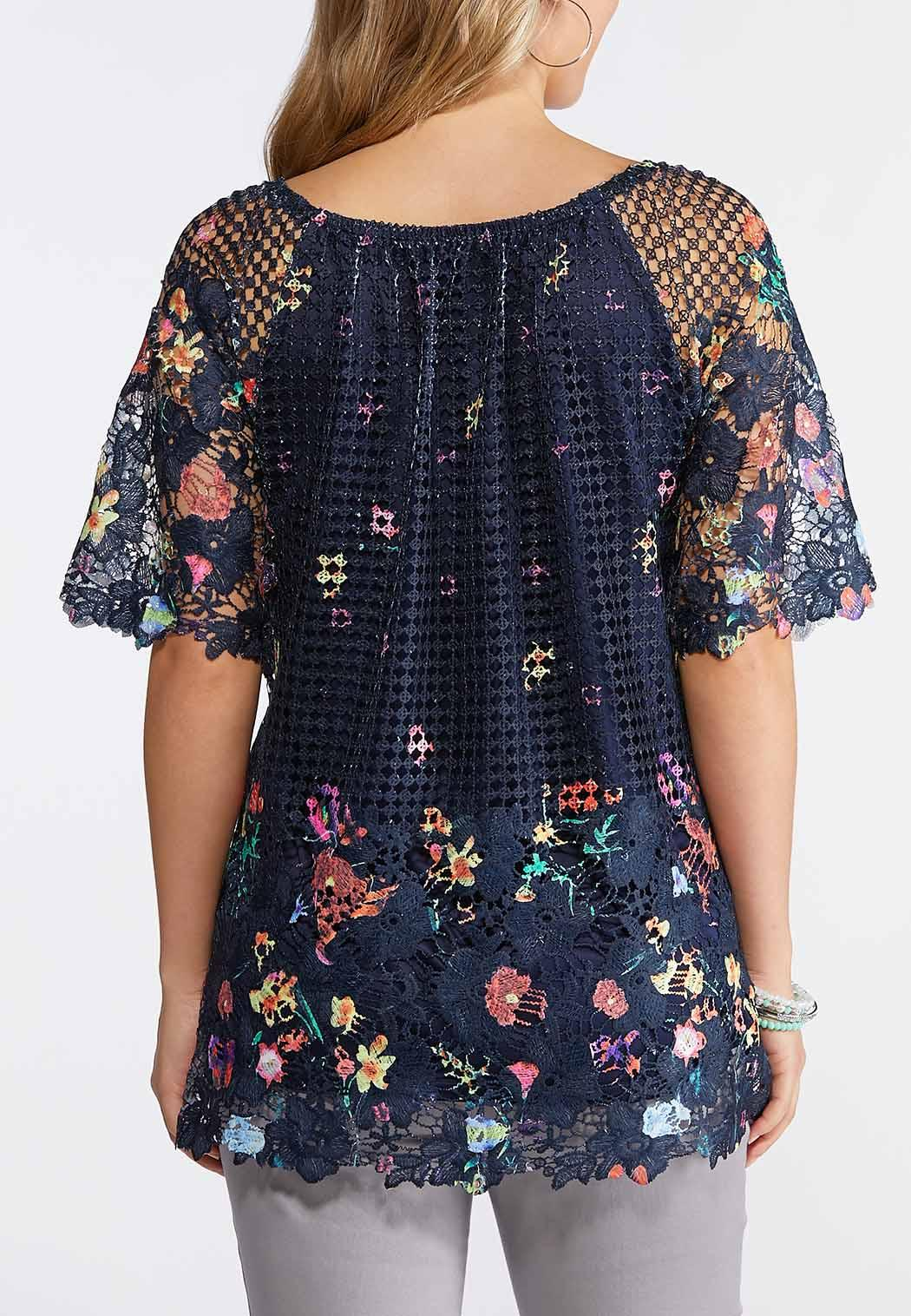 f91992632 Plus Size Navy Floral Crochet Overlay Top Shirts & Blouses Cato Fashions