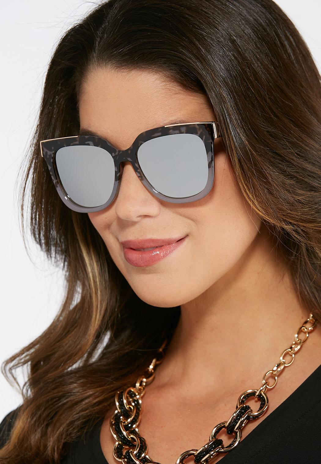 d6feeb98c5 Gray Tortoise Mirrored Sunglasses Sunglasses Cato Fashions