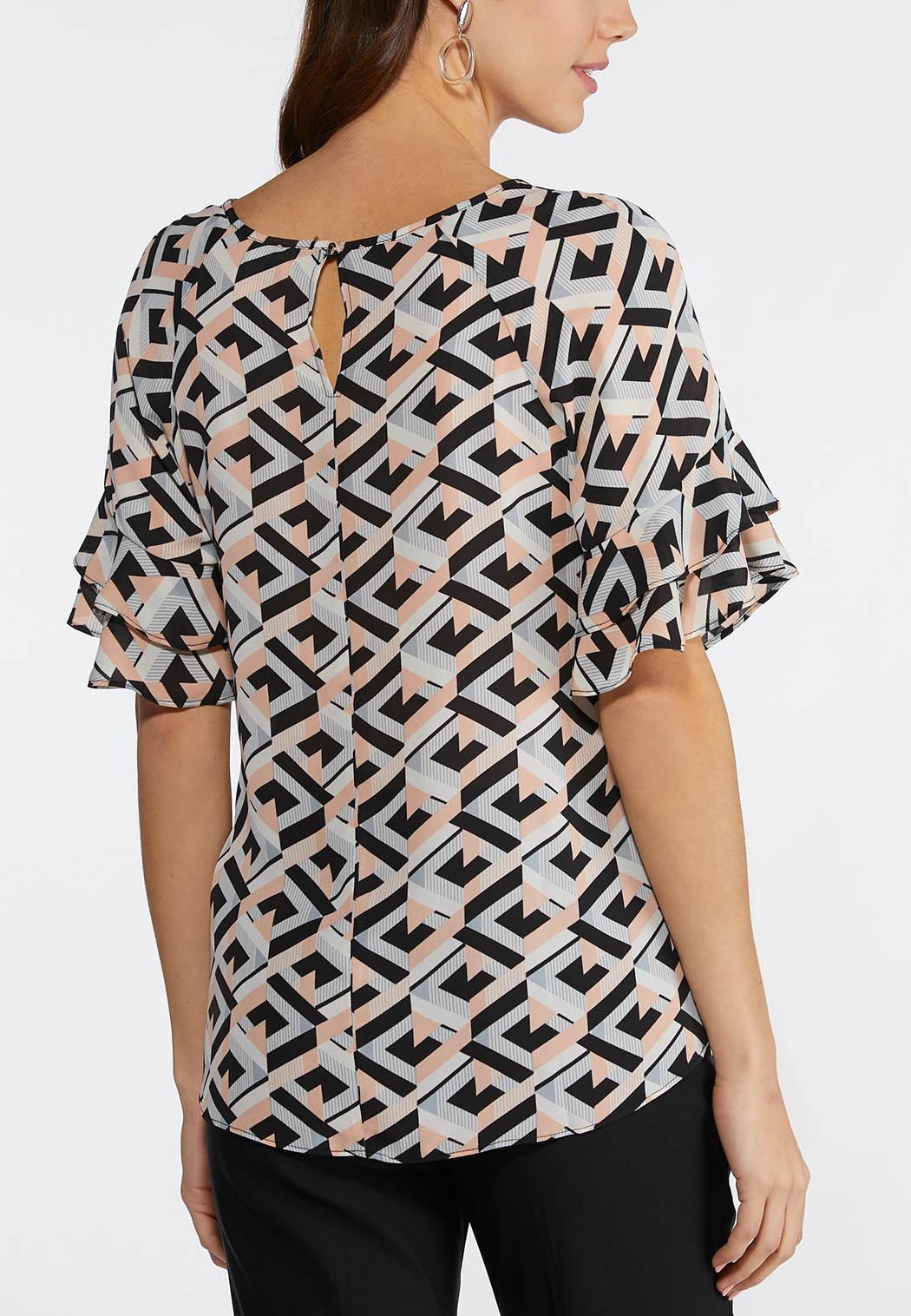 c4892b0b710 Plus Size Hardware Ruffle Sleeve Geo Top Shirts   Blouses Cato Fashions