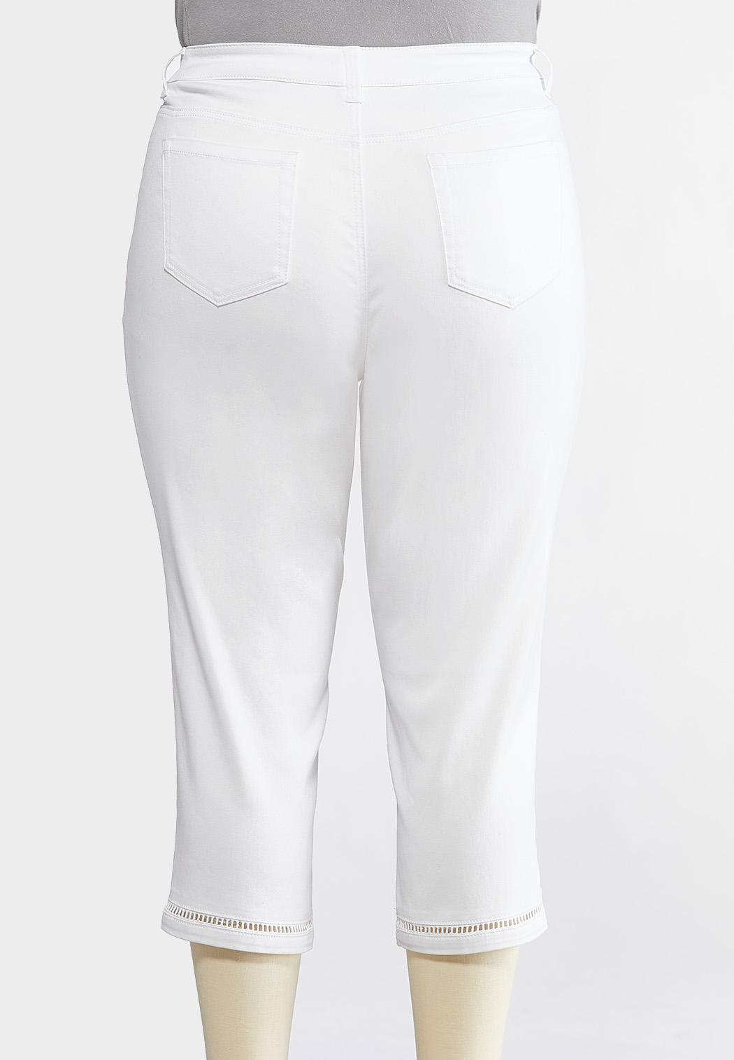 f6c89cd0722 Plus Size White Inset Cropped Jeans Cropped Pants Cato Fashions