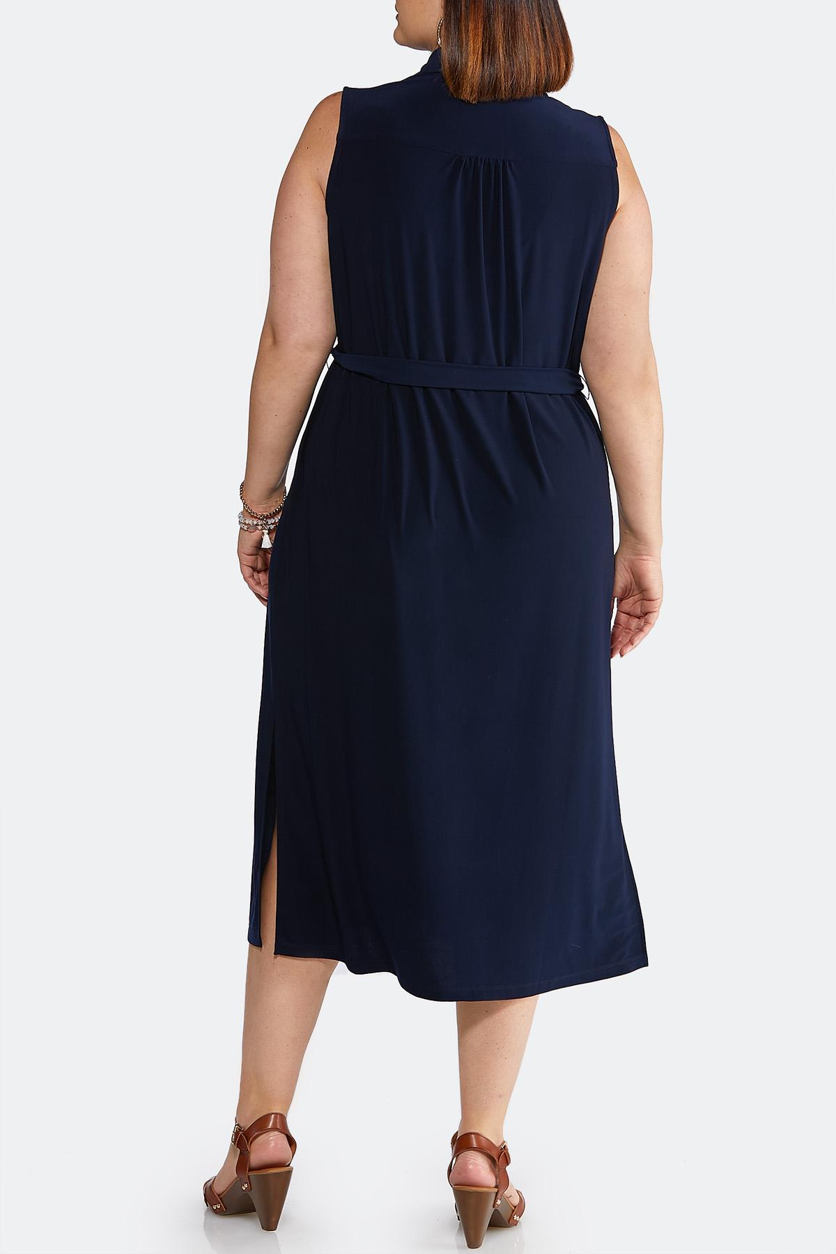 15c973e93bc3c Plus Size Navy Tie Waist Midi Dress Plus Sizes Cato Fashions