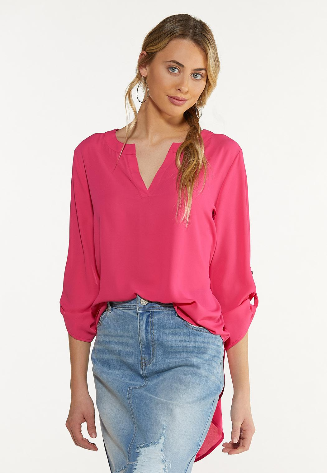 Plus Size Extreme High-Low Popover Top (Item #43790766)
