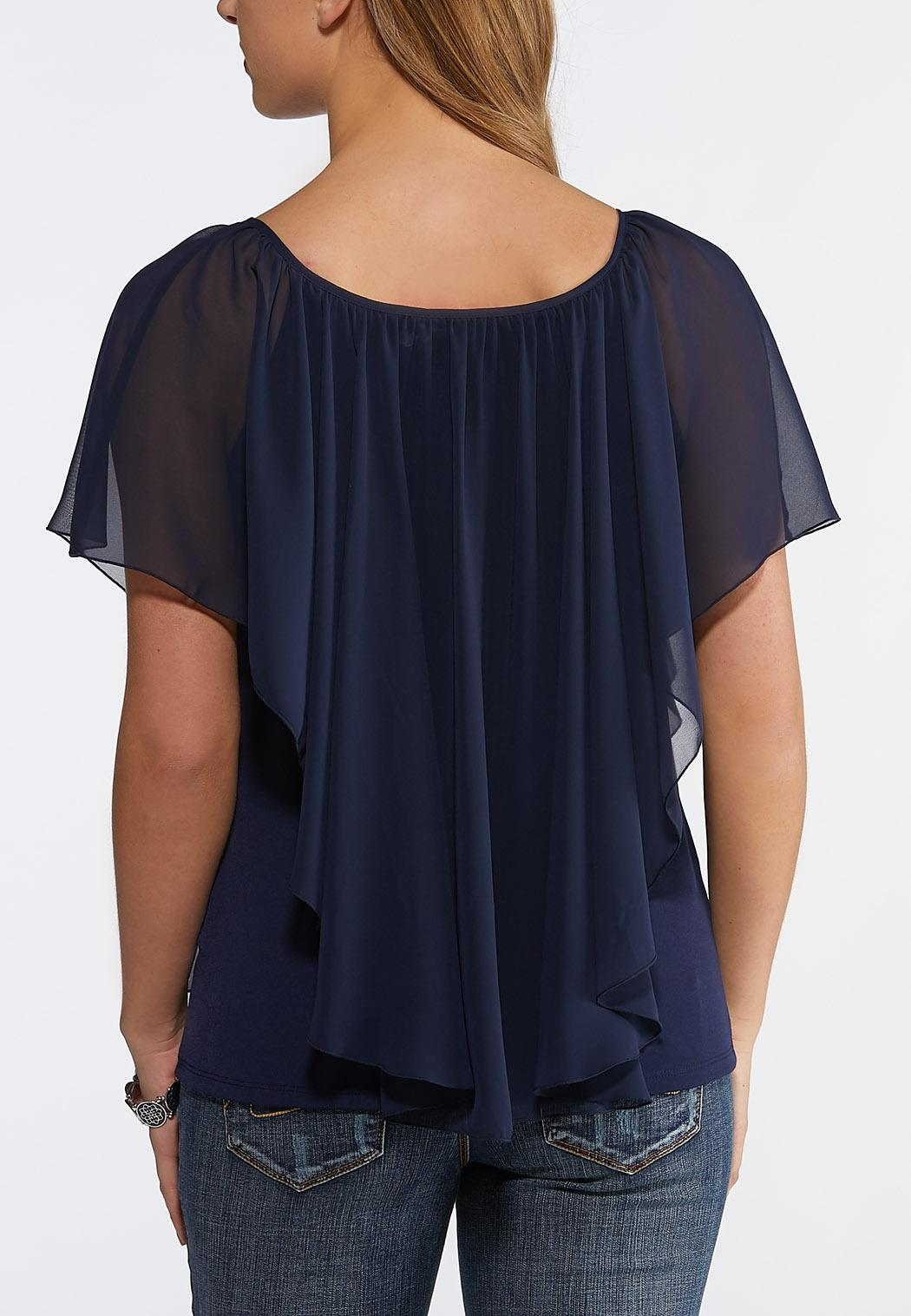 Plus Size Sheer Layered Capelet Top (Item #43791036)